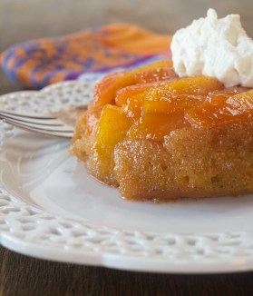 Fresh Peach Upside Down Cakes With Nutmeg Whipped Cream