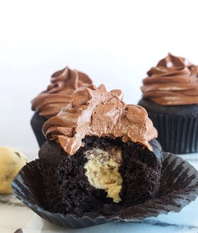 Dark Chocolate Cookie Dough Cupcakes with Whipped Chocolate Ganache Frosting