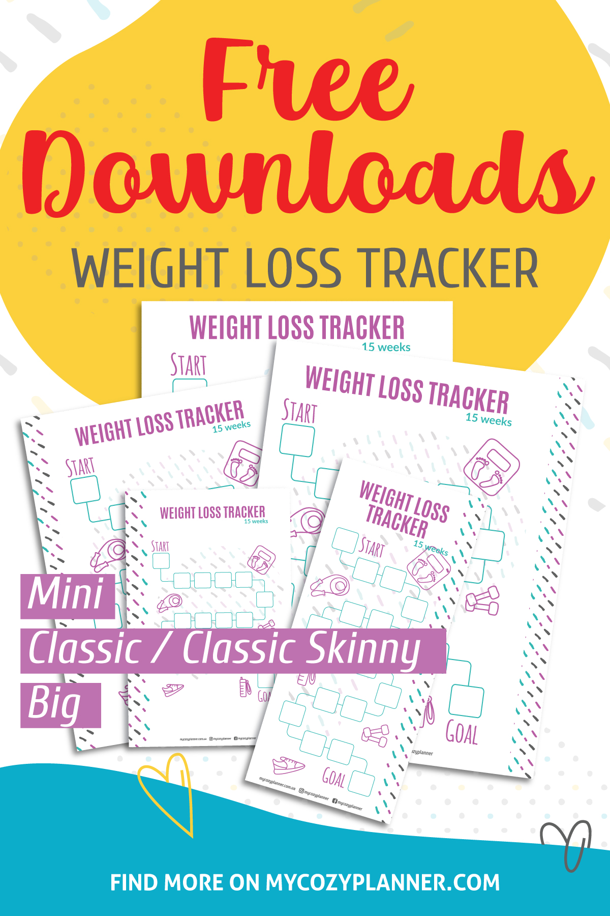 Weight Loss Tracker Free Digital Download My Cozy Planner