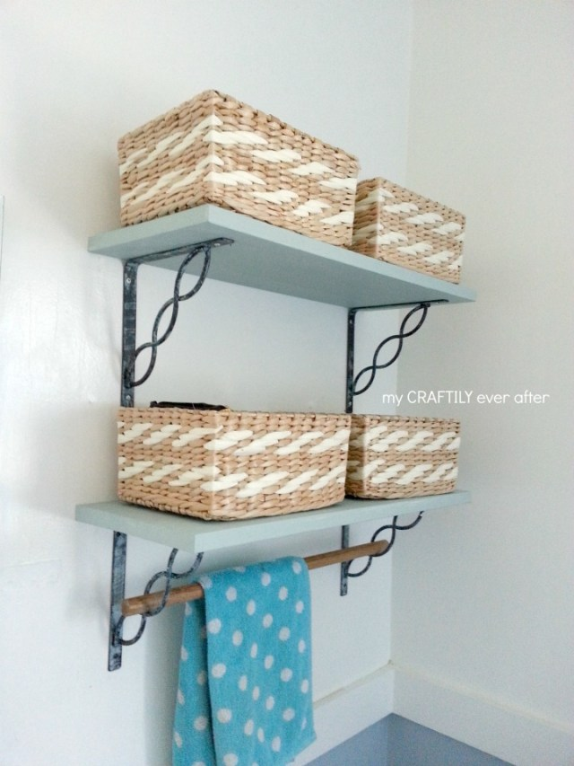 beachy bathroom shelves with modern masters metal effects paint
