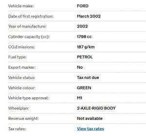 2002 Ford Mondeo vehicle details