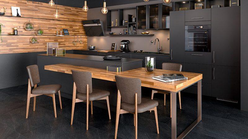 cuisines noires en bois proposees par