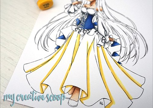Shading Yellow Pleats using Copic Markers