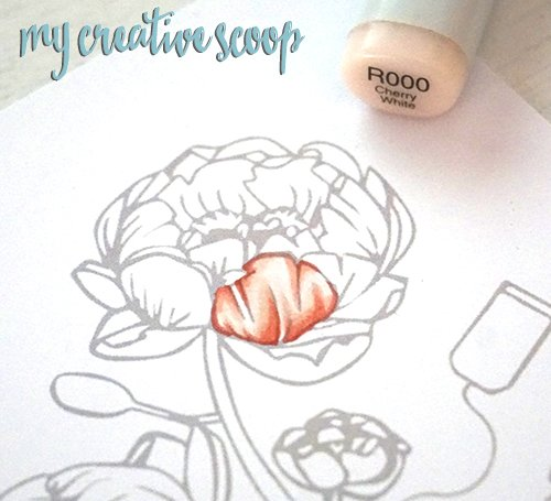 Coloring Peonies - Copic Marker Tutorial + FREE Digi Stamp