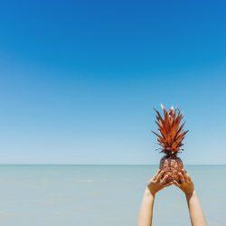 blauw-zee-strand-oceaan-ananas