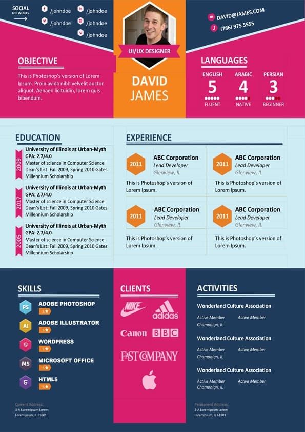 colorful stylish resume