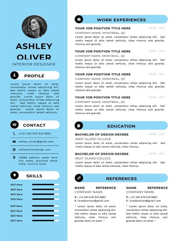 Interior Designer CV Template Editable Downloadable CV Word