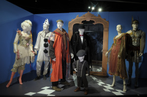 The Imaginarium of Doctor Parnassus: costumes by Monique Prudhomme, 2010 Academy Award Nominee for Achievement in Costume   (L to R):  Costumes:  Lily Cole as Valentina, Heath Ledger as Tony, Christopher Plummer as Doctor Parnassus, Tom Waits as Mr. Nick, Verne Troyer as Percy, Lily Cole as Valentina and Andrew Garfield as Anton.  Photo Credit: John Sciulli © Berliner Studios