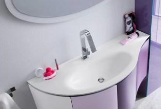 Lavabo integrato Bang in Corian, con vasca ovale piccola, bianco opaco, senza troppopieno. L 301 (max) x P 51 x SP 1.3 cm