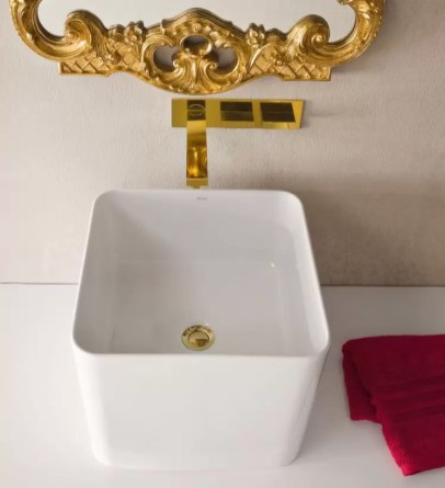 Lavabo Caddy in ceramica, bianco lucido, senza troppopieno. L 40 x P 40 x A 35 cm