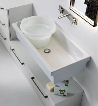 Lavatoio a muro o in appoggio Canyon in ceramica, bianco lucido, senza troppopieno. L 90 x P 45 x A 20 cm