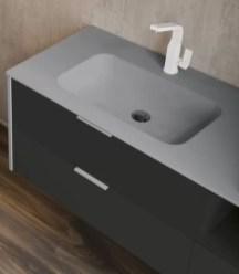 Lavabo con vasca integrata piccola Cartesio in corian, senza troppopieno. L 301 (max) x P 51 x SP 1.3 cm