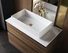 Lavabo Couture in minerlguss, bianco lucido, senza troppopieno. L 65.5 x P 36.5 x A 15 cm