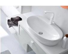 Lavabo Den in ceramica, bianco lucido, senza troppopieno. L 66 x P 40 x A 14.5 cm