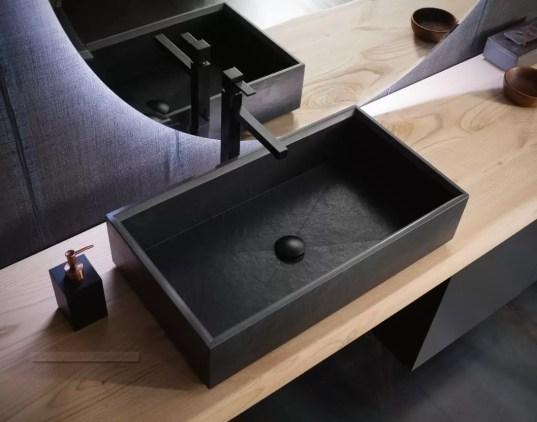 Lavabo Lavagna in gres, senza troppopieno. L 65 x P 36 x A 15 cm