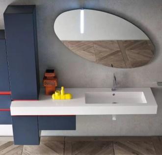 Lavabo integrato Like in minerlguss, vasca grande, bianco lucido. L 271 (max) x P 51 x SP 12.5 cm