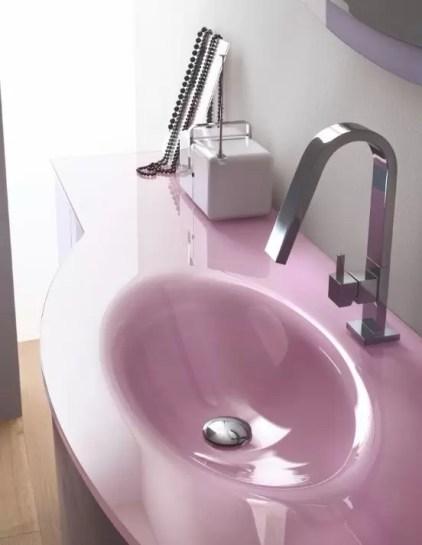 Lavabo integrato a misura Lollipop in cristallo con vasca ovale piccola, senza troppopieno. L 250 (max) x P 51 x SP 1-1.5 cm