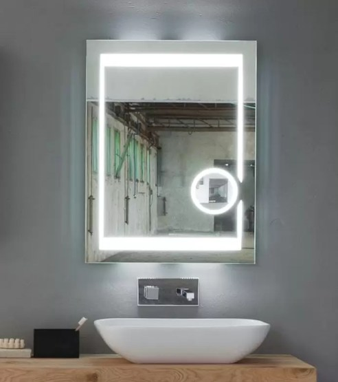 Specchiera Mira retroilluminata led, interruttore ad infrarossi, luci led a diffusione. Specchio ingranditore, interruttore on/off. L 60 x P 5 x A 80 cm