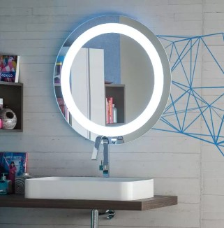 Specchiera Orion con cornice in vetro retroilluminata con led, interruttore infrarossi, funzione antiappannamento. L 90 x P 5 x A 90 cm
