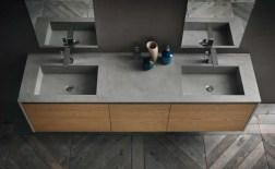 Lavabo integrato Petrus in Eco-cemento, con vasca piccola, senza troppopieno. L 211 (max) x P 51 x SP 2.1 cm