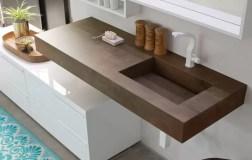 Piano con vasca integrata piccola Ra in stratificato HPL, senza troppopieno. L 301 (max) x P 51 x SP 12.5 cm