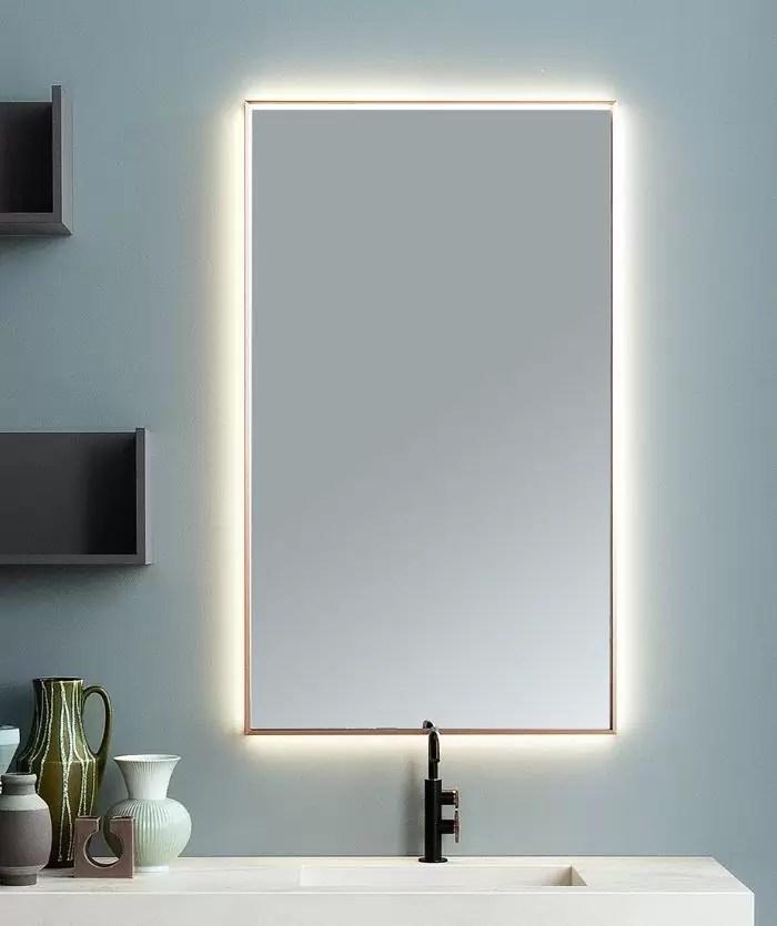 Specchiera Screen3 con telaio con finitura rame, led su 4 lati esterni, senza interruttore. L 70 x P 5.5 x A 120 cm