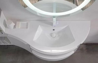 Lavabo integrato Seven in mineralguss, bianco lucido, con troppopieno. L 211 (max) x P 51 x SP 1.3 cm