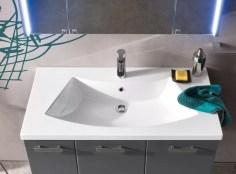 Lavabo Slide in Mineralguss, bianco lucido, con troppopieno, sp. bordo 3.5 cm L 96 x P 51 x A 18.5 cm