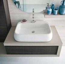 Lavabo Soap + Mix in ceramica, bianco lucido, senza troppopieno. L 70 x P 49 x A 17 cm