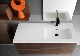 Lavabo Style in Mineralguss bianco opaco, vasca centrale, con troppopieno, sp. bordo 1.3 cm. L 70.5 x P 51.5 x A 17.5 cm