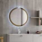 Specchiera Sun con cornice in vetro, senza presa ed interruttore. L 50 x P 2.6 x A 95 cm