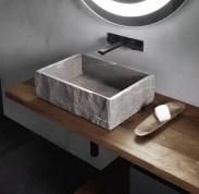 Lavabo Tina in pietra Piasentina, senza troppopieno. L 65 x P 36 x A 15 cm