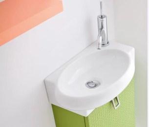 Lavabo Zetta in ceramica, bianco lucido, senza troppopieno. L 44.5 x P 27 x A 12.5 cm