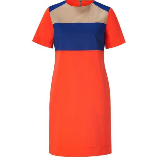 10 Crosby Derek Lam Orange/Navy/Beige Colorblocked Cotton Dress