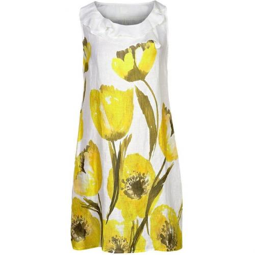 120% Lino Sommerkleid yellow/white