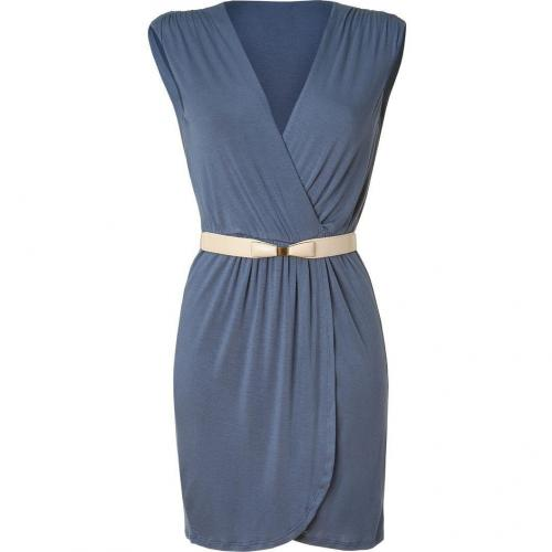 Akiko Dusty Blue Belted Jersey Dress