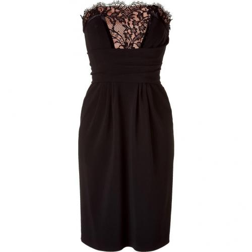 Alberta Ferretti Black/Peach Strapless Dress with Lace Trim