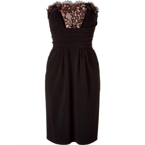 Alberta Ferretti Black/Peach Strapless Dress with Lace Trim