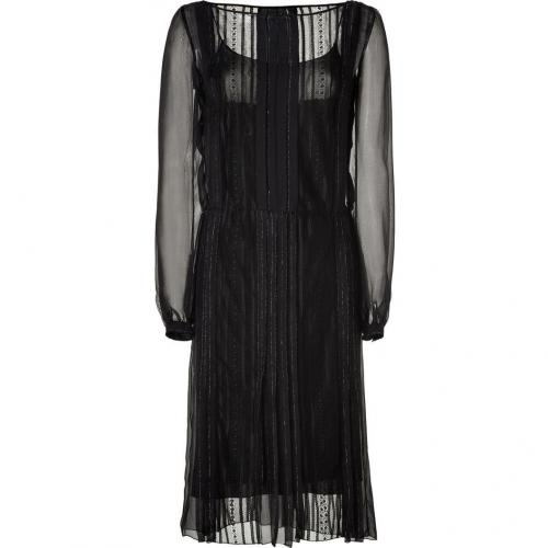 Alberta Ferretti Black Pinstriped Silk Dress