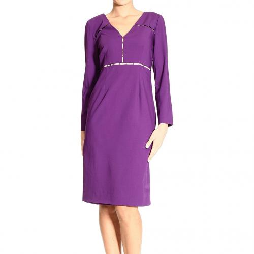 Alberta Ferretti Long sleeve v neck gabardine ajour dress