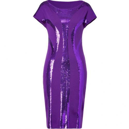 Alberta Ferretti Purple Sequined Wool Dress