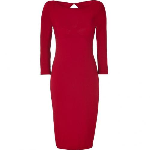 Alberta Ferretti Red Wool Sweater Dress with Cut-Out Back