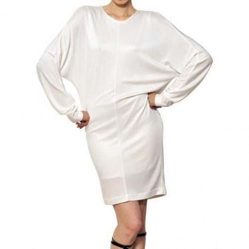 Alexander Wang Drapiertes Doppel Maschenware Jersey Piqué Kleid Weiß