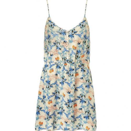 American Vintage Royal Blue Palm Print Silk Dress