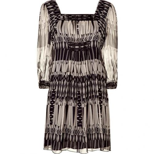 Anna Sui Black/Cream Aztec Print Kleid