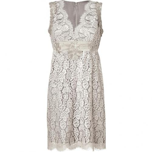 Anna Sui Silver-Grey Embroidered Botanic Lace Kleid