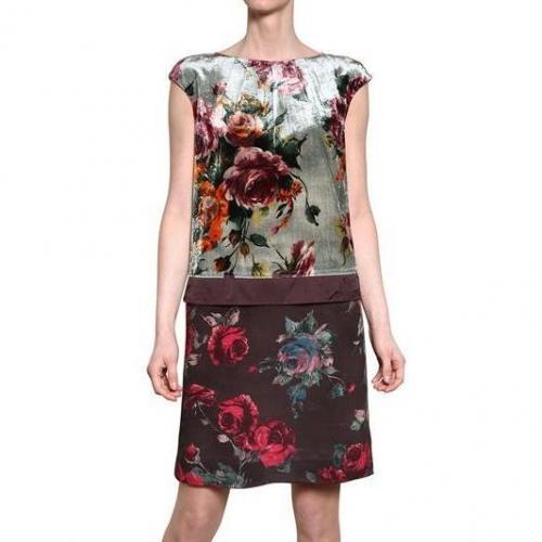 Antonio Marras Viskose Samt & Crepe De Chine Kleid