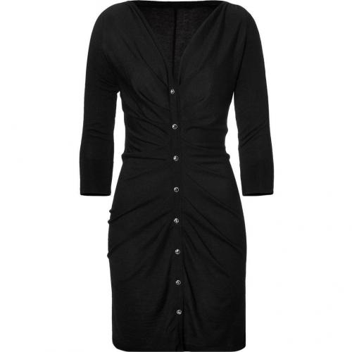 Azzaro Black Draped Knit Dress with Crystal Buttons