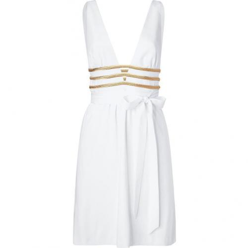 Azzaro White and Gold Deep V-Neck Dress with Belt