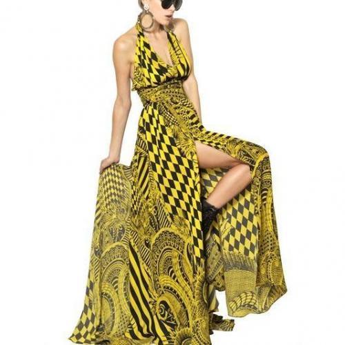 Balmain Bedrucktes Langes Crepe De Chine Kleid